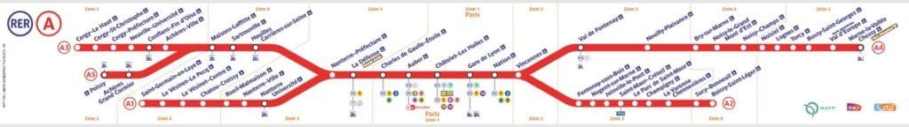 Mapa Linea RER A de París a Disneyland París
